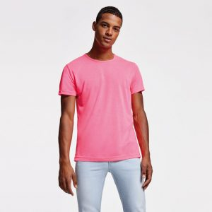 Camiseta fluor con tejido poliester con tacto de algodón